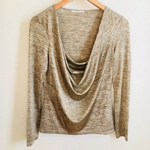 Formal Draped neck heather gold blouse
